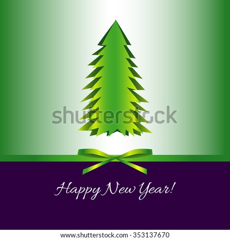 Postcard. Happy New Year! Bow and simple Christmas tree. Purple and green color and gradient - stock vector