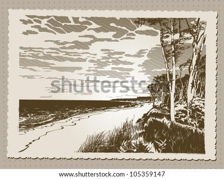 Postcard in vintage style with views of sandy beach on a sunny day, vector illustration