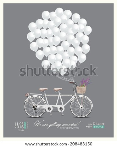 Postcard invitation to the wedding. Tandem bike and balloons. Vector illustration in vintage style. - stock vector