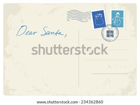 Postcard letter to Santa - stock vector