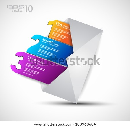 Postcard  men���¹ with 3 choices. Ideal for web usage, depliant for product comparison or business presentation. - stock vector