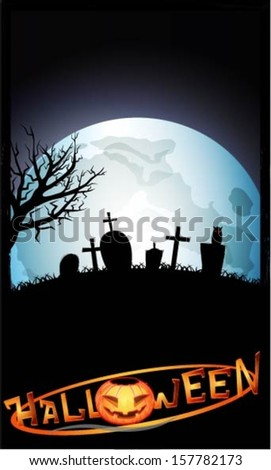 Postcard on Halloween with a big moon, graves, a large tree and owl