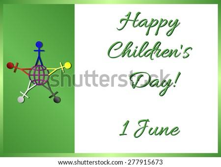 Postcard On June 1 International Childrens Stock Vector 277915673