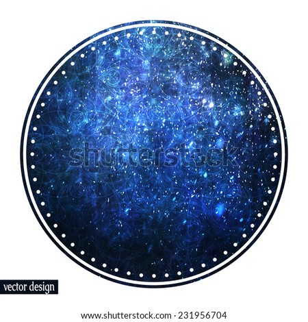 Postcard or invitation template, abstract painted round label with magic winter blue texture, falling snow lighting effect and decorative pattern. Fully editable. - stock vector