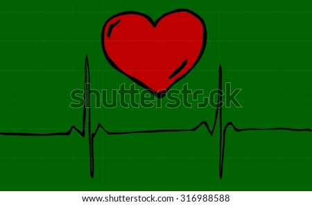 Postcard, symbolizing about the acceleration pulse from love, that love is life, or about a rapid change in a love relationship. Heart amid the beating of the pulse. All isolated. - stock vector