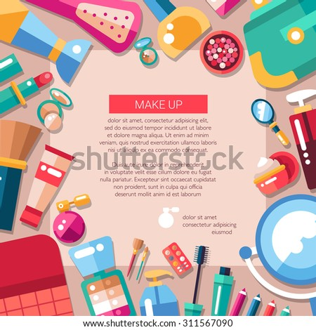 Postcard template of vector flat design cosmetics, make up icons and elements - stock vector