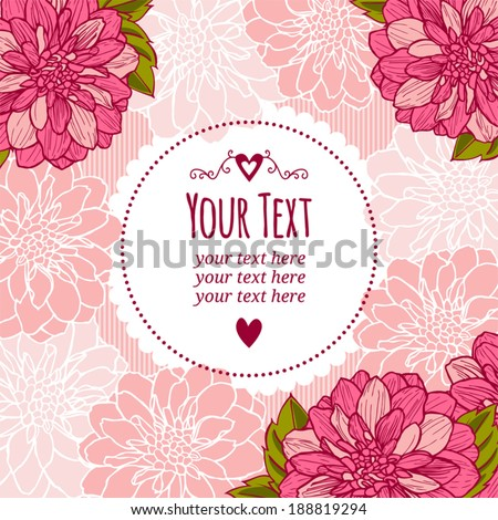 Postcard template or banner. Frame for text or photo. dahlia - stock vector
