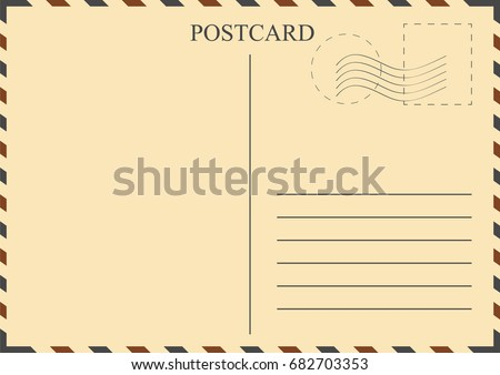 Postcard Template Vintage Postcard Stamps Vector Stock Photo Photo