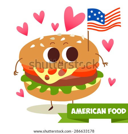 Postcard Valentine's Day. Illustration with funny characters. Love and hearts. Cute character as a burger with the American flag. Traditional American food. Cute illustration - stock vector