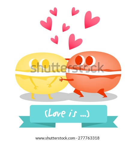 Postcard Valentine's Day with cute  and colorful macaroon on the  background.  Illustration with funny characters.  - stock vector