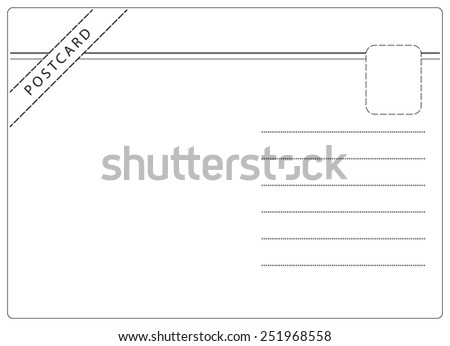 Postcard vector in simple black and white style with room for text - stock vector