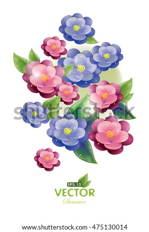 Postcard - Violet flowers and green leaves, vector illustration, eps-10