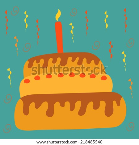Postcard with a festive cartoon cake with one burning candle on a blue background
