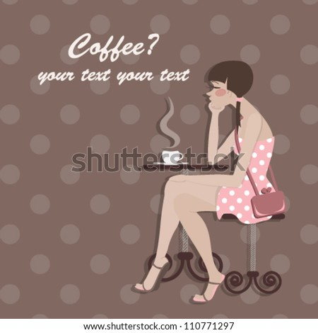 Postcard with a girl and coffee