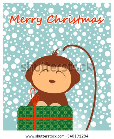 Postcard with a monkey and a gift for Christmas and new year 2016