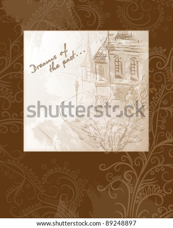 Postcard with a picture of the old street - stock vector