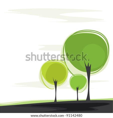 postcard with a stylized trees - stock vector