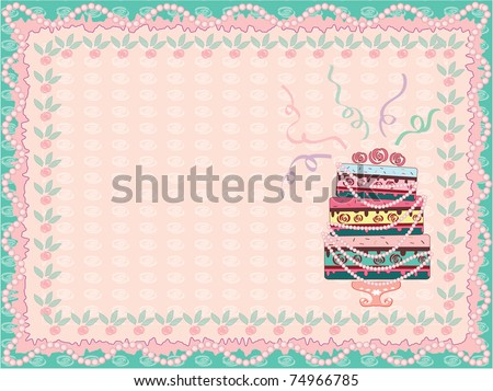 Postcard with cake,vector - stock vector