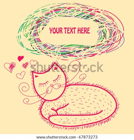 postcard with cartoon cat. background - stock vector