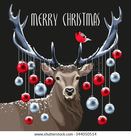 Postcard with christmas deer and christmas tree toys on its horns - stock vector