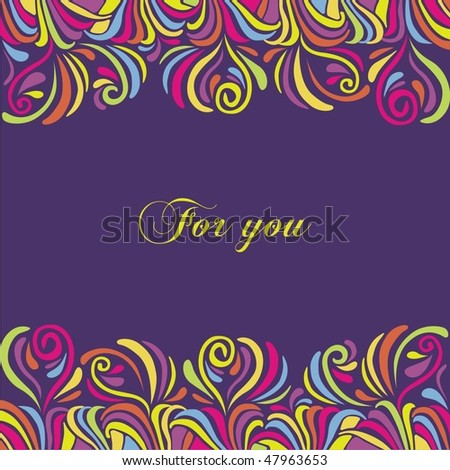 Postcard with colorful tracery background. Vector illustration.