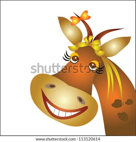 Postcard with cow - stock vector