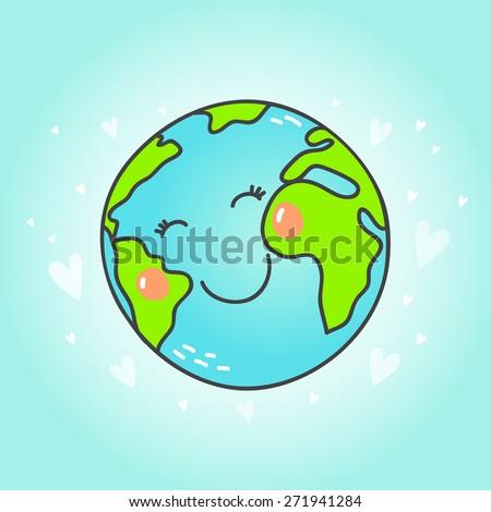 Postcard with cute cartoon Earth globe.  Vector illustration. - stock vector