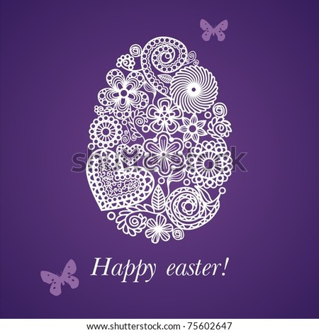Postcard with egg which consist of patterns. Vector illustration.