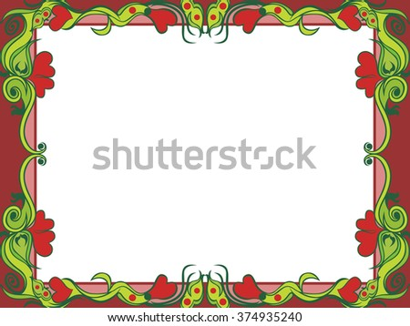 Postcard with floral elements in dim colors, hand drawing vector illustration