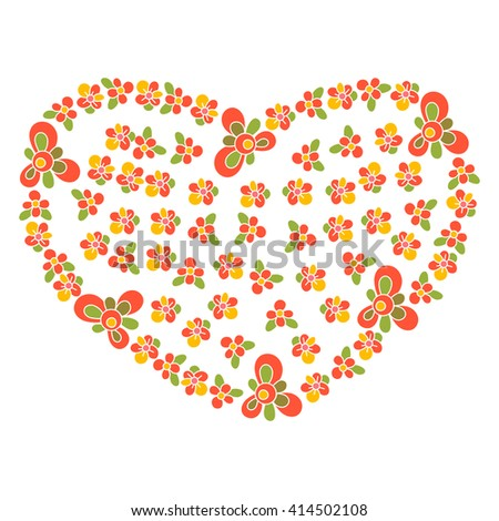 Postcard with floral heart, for the decoration of greetings, invitations, posters, on a white background - stock vector