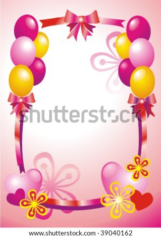Postcard with flowers and ballons - stock vector