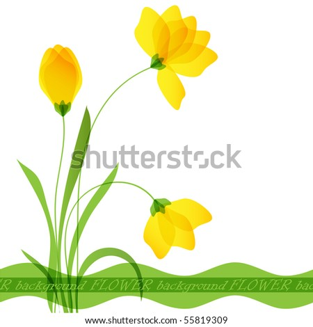 Postcard with flowers. Vector format 10 eps - stock vector