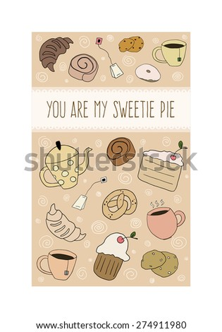 Postcard with hand drawn doodle bakery products and cups - stock vector