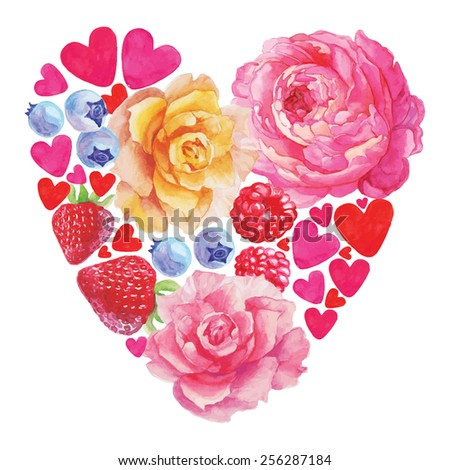 Postcard with hearts and flowers on Valentine's day. Hand drawing. Watercolor. - stock vector