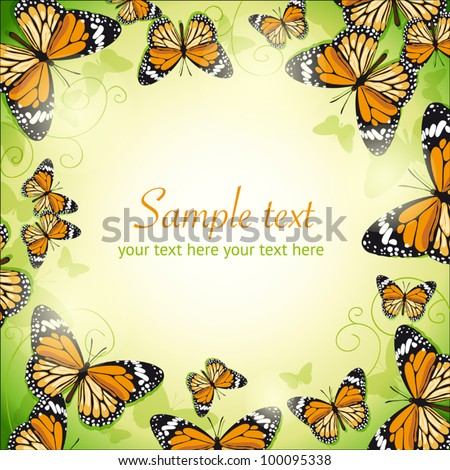 Postcard with monarch butterflies - stock vector