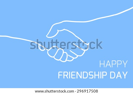 Postcard with outline shakes hands - stock vector