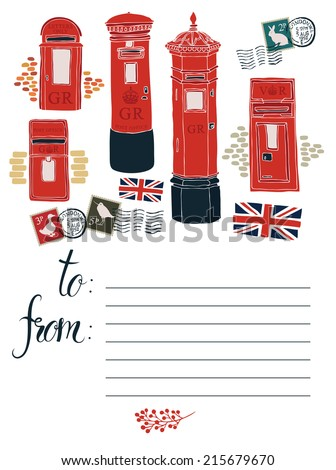 Postcard with Post office boxes - stock vector