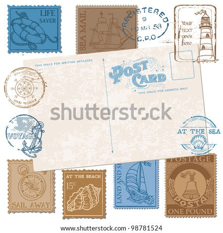 Postcard with Retro SEA Stamps - High Quality -  for design and scrapbook in vector - stock vector
