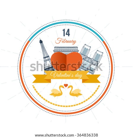 Postcard with the heart of Paris landmarks. Vintage heart and ribbon Valentines day vector illustration. Valentines Day gift card. Invitation card for wedding. Paris with love - stock vector