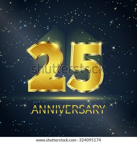 Postcard 25 years anniversary of golden numbers on dark starry sky - stock vector