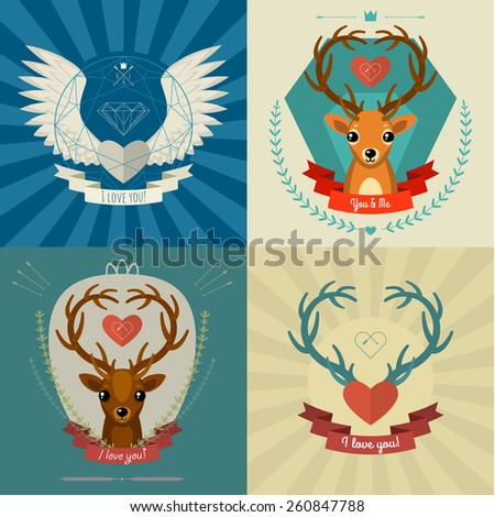 Postcards about love. Vector cards with deers and hearts - stock vector