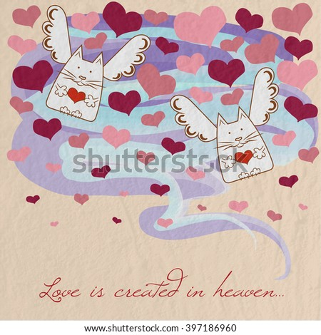 Postcards from the angels - cats and hearts on a love theme - stock vector