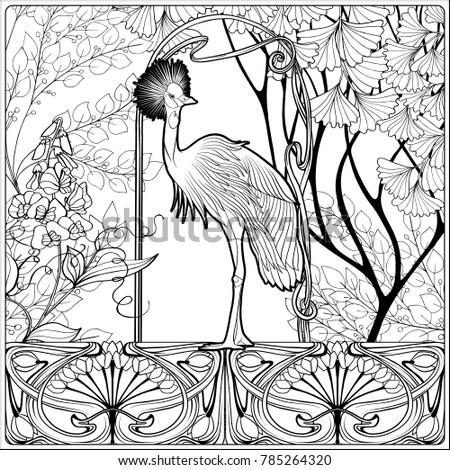 Poster Background Decorative Flowers Bird Art Stock Vector Royalty
