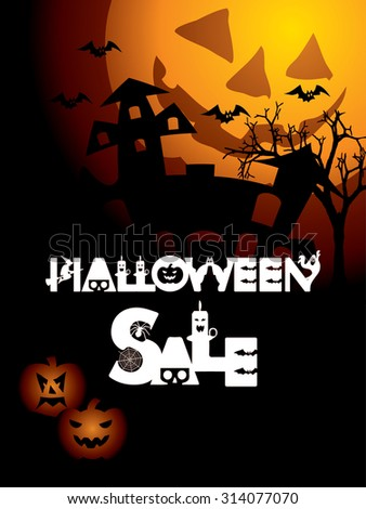 Poster, banner, flyer or background for Halloween sale, can be used for print and publishing.