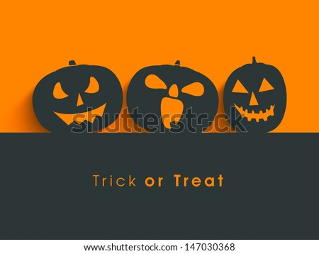 Poster, banner or background for Trick or Treat Halloween Party with scary pumpkins. - stock vector