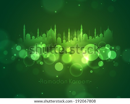 Poster, banner or flyer design with silhouette of mosque on shiny green background for holy month of muslim community Ramadan Kareem.  - stock vector