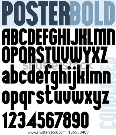 Poster Bold Classic Style Font Black Condensed Letters Alphabet Standard For Advertising