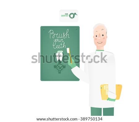 Poster brush teeth - stock vector