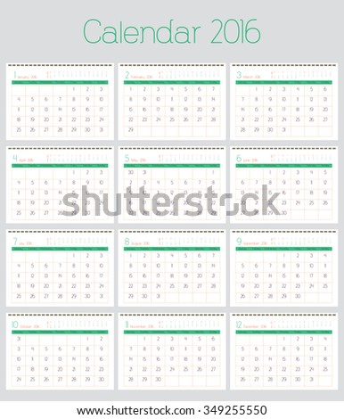 Poster Calendar for 2016. Annual planner for year 2016. Week Starts Monday. Simple Vector Template, Set of 12 Months - stock vector