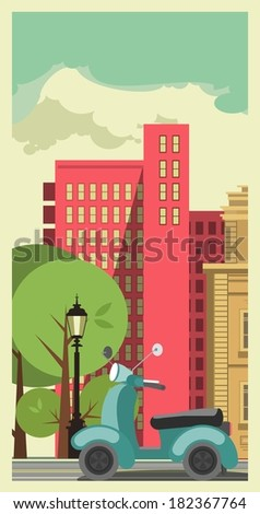 Poster cityscape on the background of sky urban facilities and urban transport scooter  - stock vector